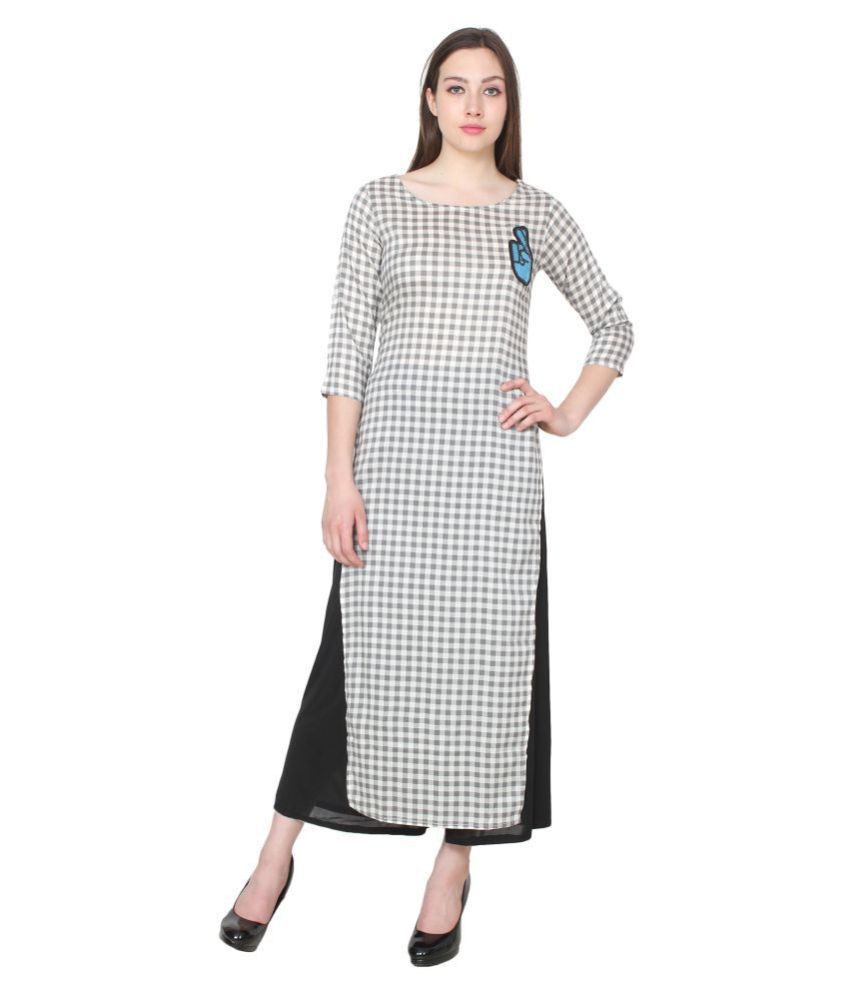 CJ15 White Viscose Straight Kurti