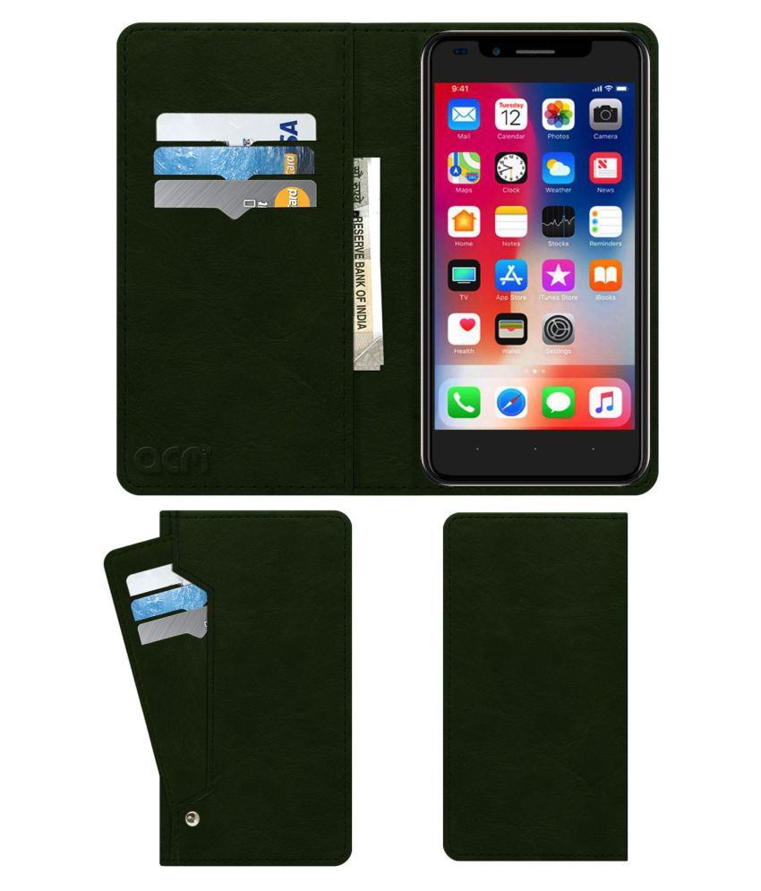 I Kall K3 Flip Cover by ACM - Green Wallet Case,Can store 6 Card & Cash,Teal Green