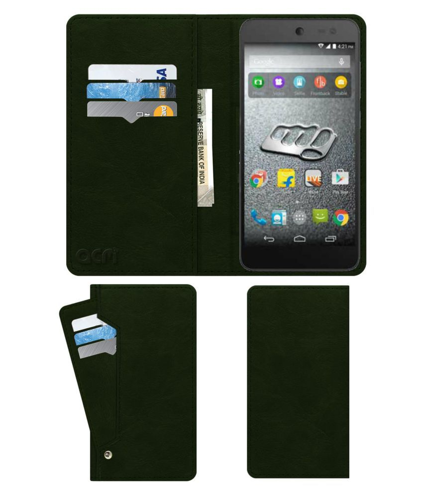 Micromax Canvas Pace 4G Flip Cover by ACM - Green Wallet Case,Can store 6 Card & Cash,Teal Green
