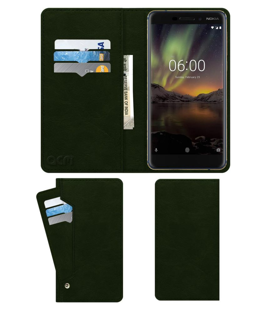 Nokia 6(2018) Flip Cover by ACM - Green Wallet Case,Can store 6 Card & Cash,Teal Green