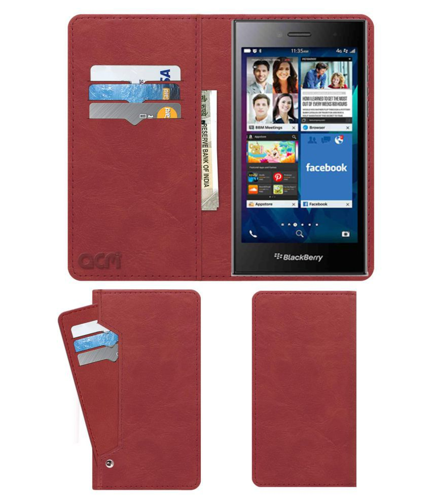 Blackberry Leap Flip Cover by ACM - Pink Wallet Case,Can store 6 Card & Cash,Peach Pink