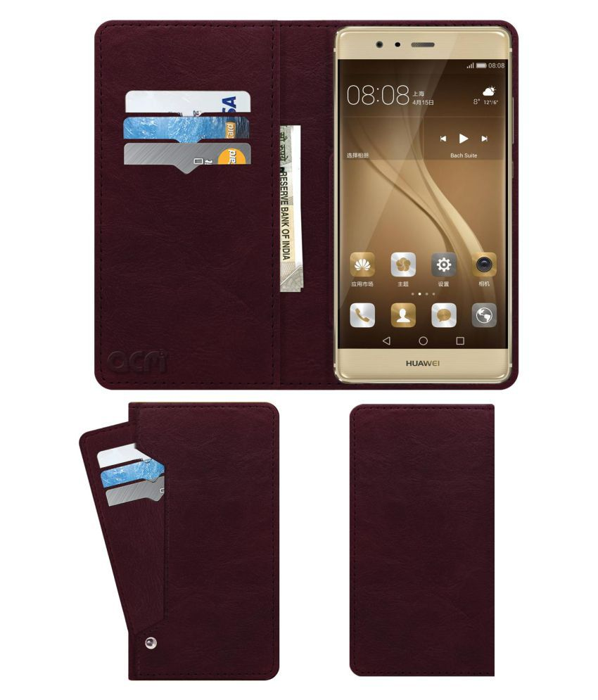 buy online 82629 0c384 Huawei P9 Flip Cover by ACM - Red Wallet Case,Can store 6 Card &  Cash,Burgundy Red