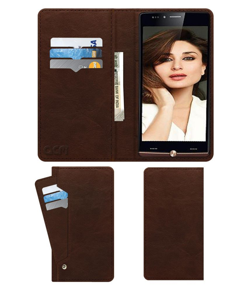 Iball Cobalt 4 Mslr Flip Cover by ACM - Brown Wallet Case,Can store 6 Card & Cash,Rich Brown
