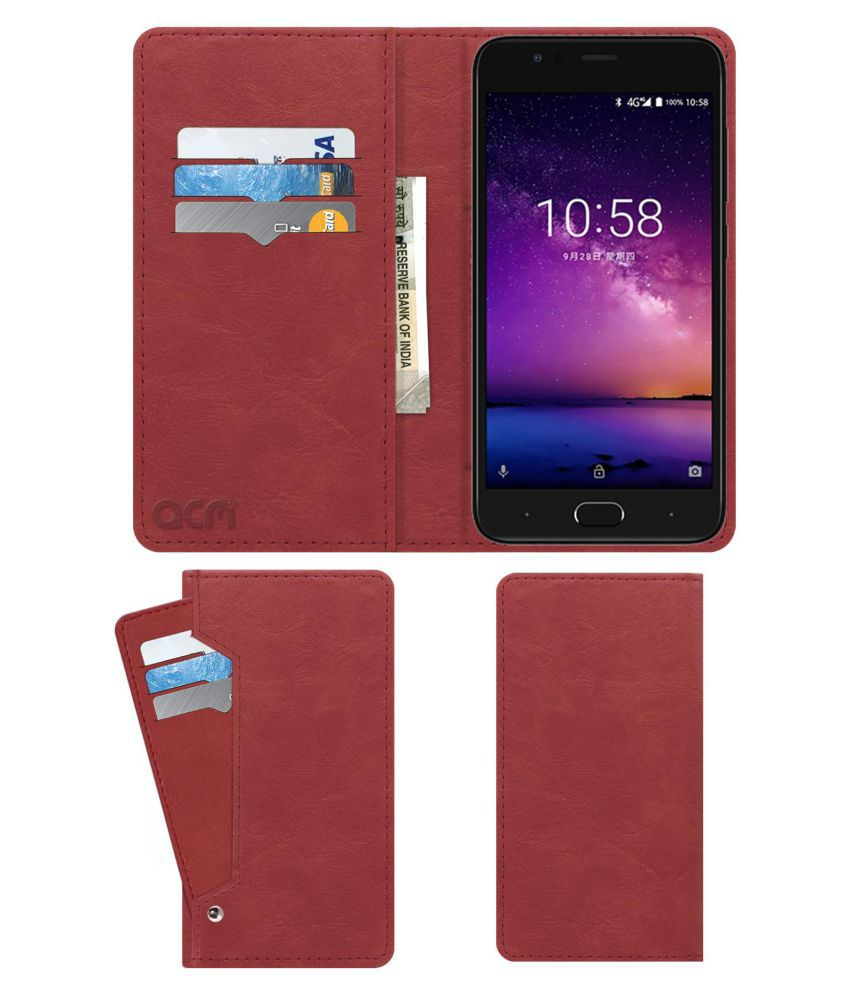 InFocus A3 Flip Cover by ACM - Pink Wallet Case,Can store 6 Card & Cash,Peach Pink