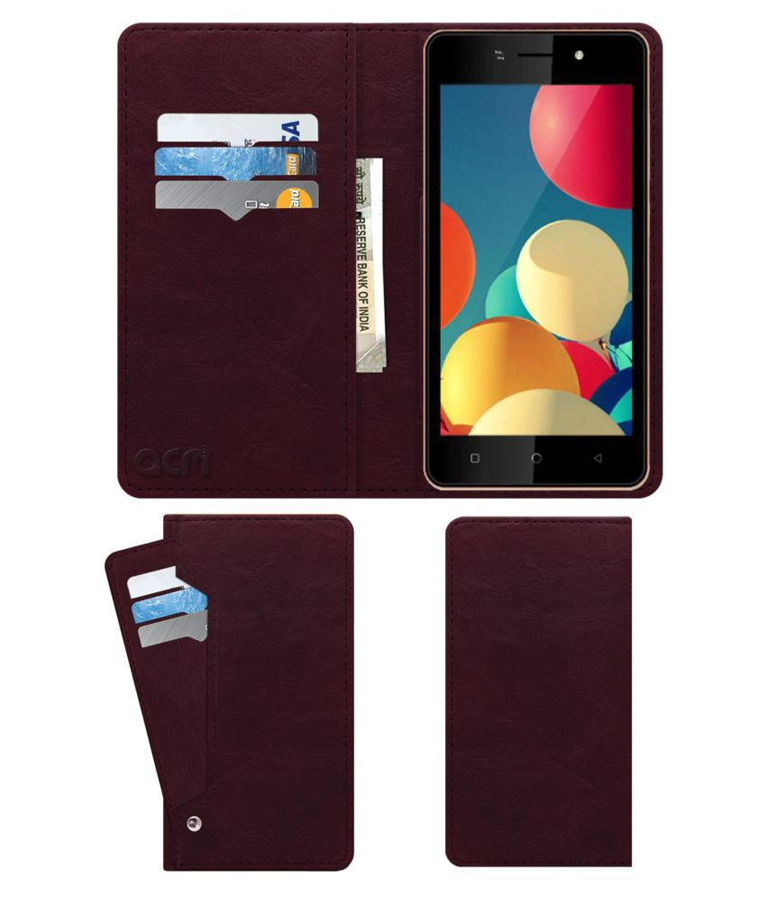 Itel A41 Flip Cover by ACM - Red Wallet Case,Can store 6 Card & Cash,Burgundy Red