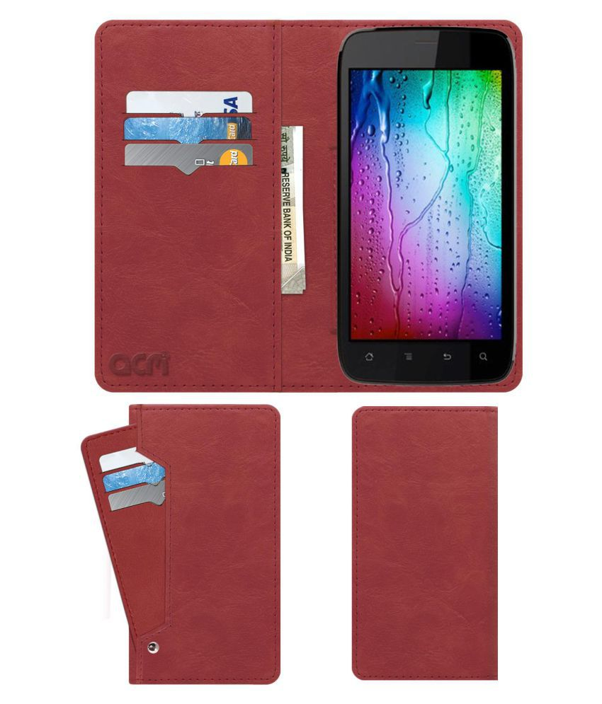 Karbonn A111 Smart Flip Cover by ACM - Pink Wallet Case,Can store 6 Card & Cash,Peach Pink