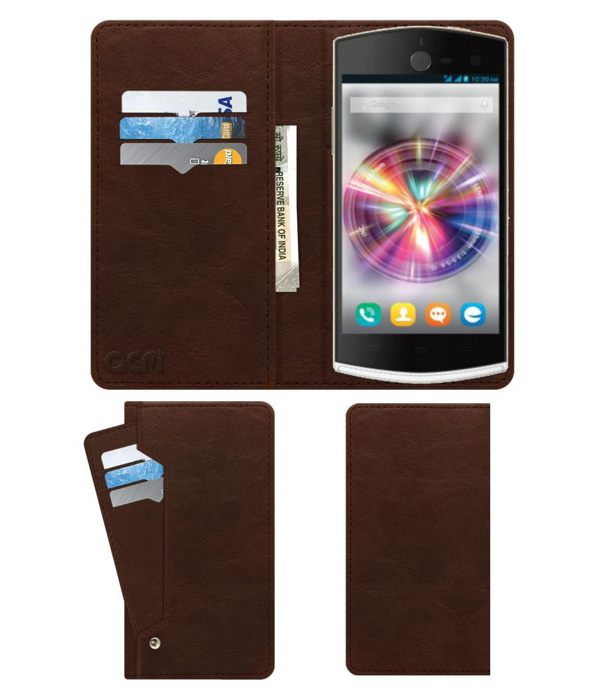 Micromax Canvas Selfie A255 Flip Cover by ACM - Brown Wallet Case,Can store 6 Card & Cash,Rich Brown