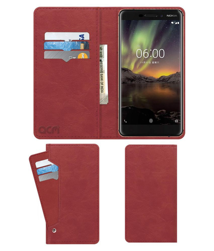 Nokia 6 Flip Cover by ACM - Pink Wallet Case,Can store 6 Card & Cash,Peach Pink