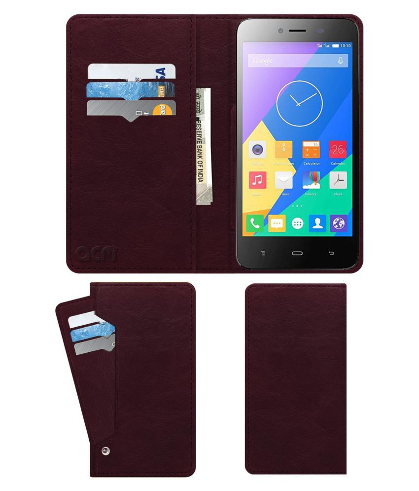 Phicomm Energy 653 Flip Cover by ACM - Red Wallet Case,Can store 6 Card & Cash,Burgundy Red