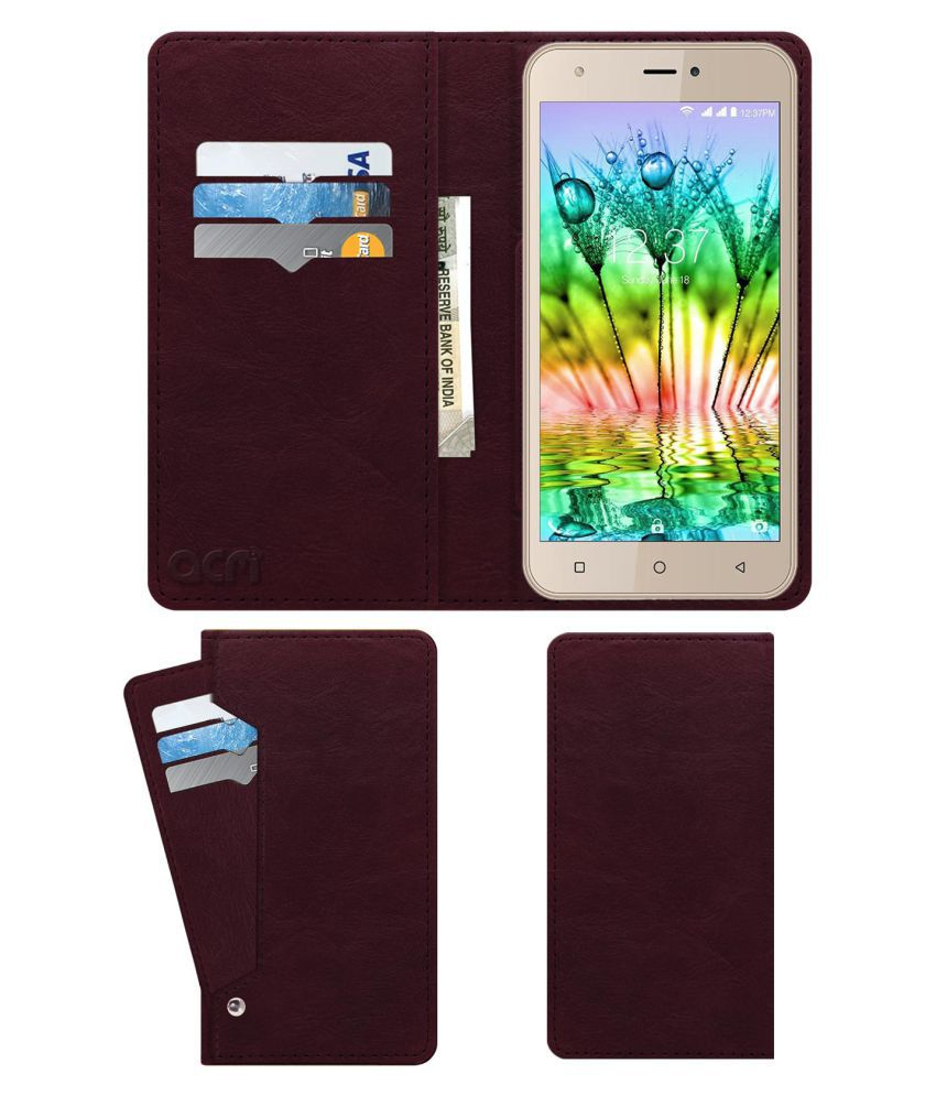 Intex Aqua Note 5.5 Flip Cover by ACM - Red Wallet Case,Can store 6 Card & Cash,Burgundy Red