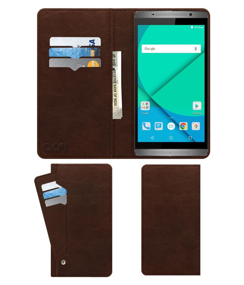 Micromax Canvas Mega 2 Q426 Flip Cover by ACM - Brown Wallet Case,Can store 6 Card & Cash,Rich Brown