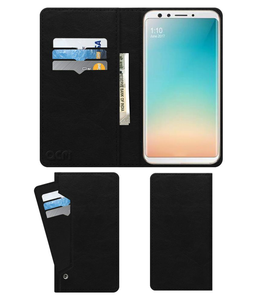 Oppo F5 Flip Cover by ACM - Black Wallet Case,Can store 6 Card & Cash,Royal Black