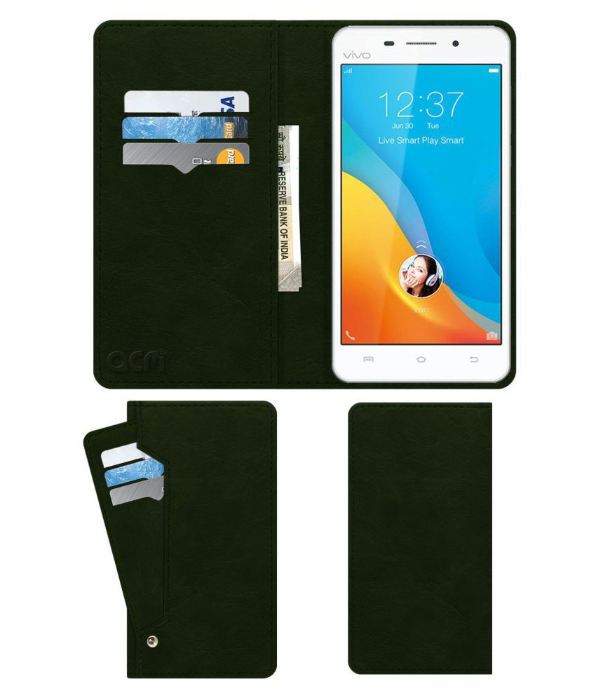 the best attitude 369ee 1d210 Vivo V1 Max Flip Cover by ACM - Green Wallet Case,Can store 6 Card &  Cash,Teal Green