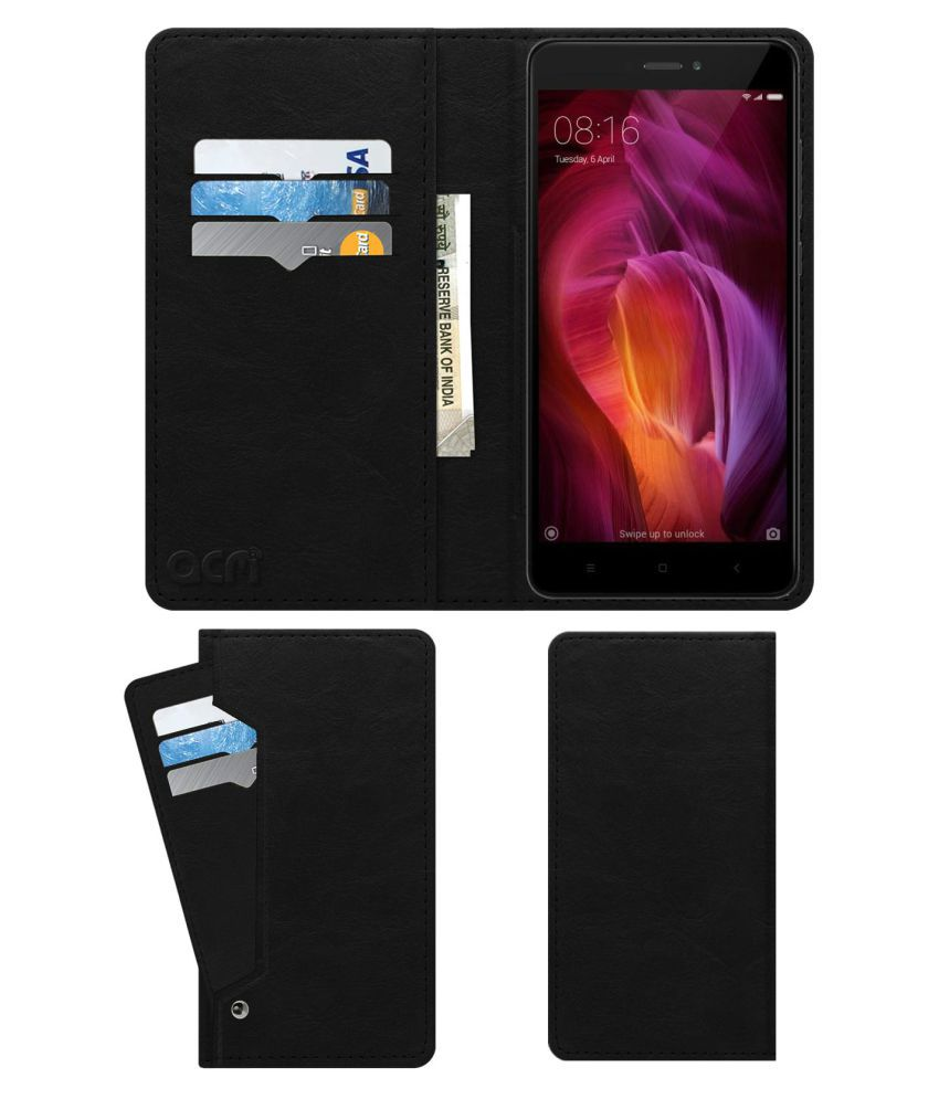 best service 4eaac 235c1 Xiaomi Redmi Note 4 Flip Cover by ACM - Black Wallet Case,Can store 6 Card  & Cash,Royal Black