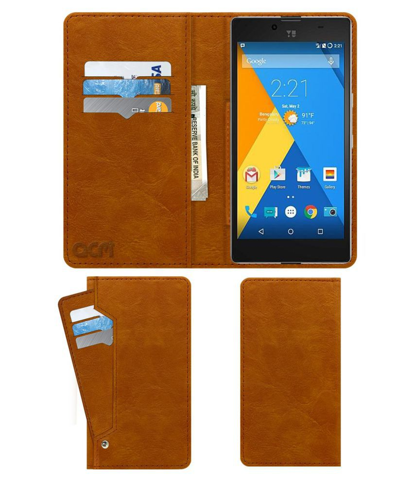 YU Yuphoria Flip Cover by ACM - Golden Wallet Case,Can store 6 Card & Cash,Classic Golden