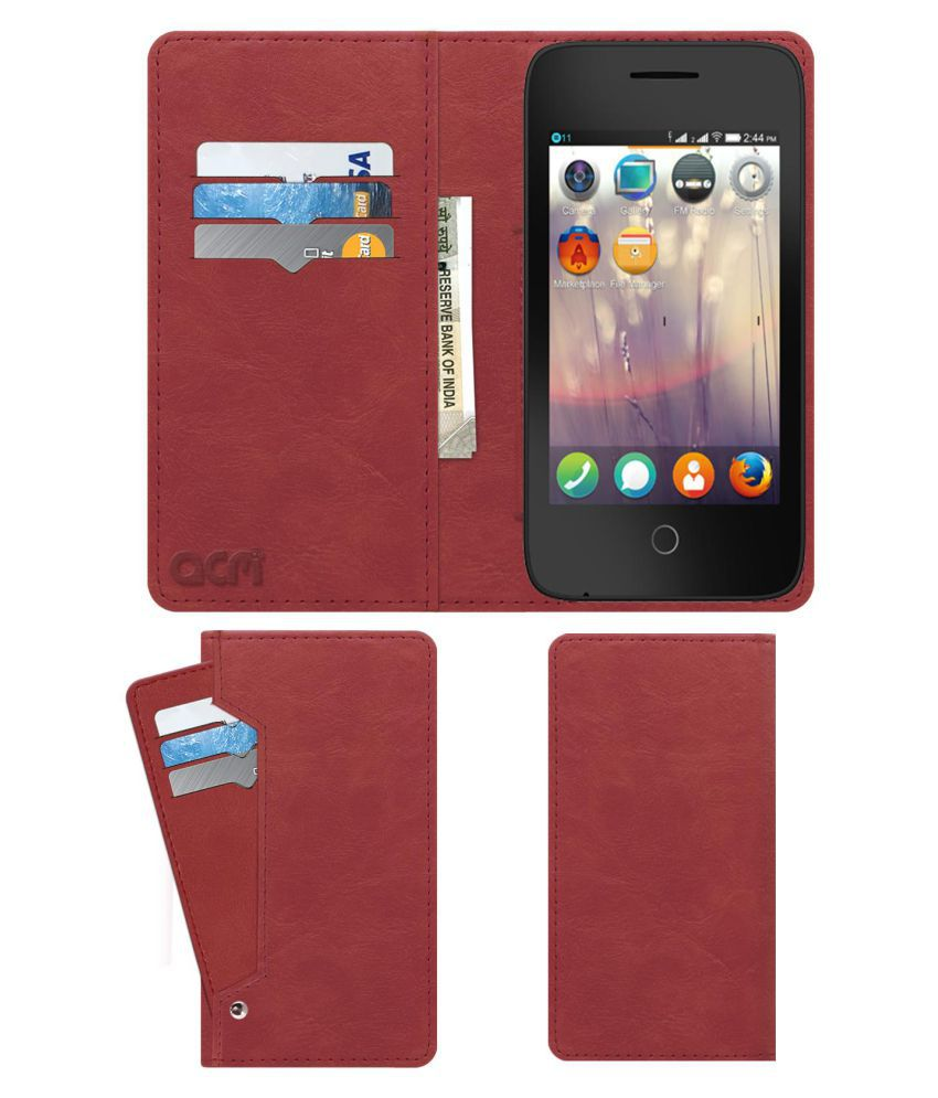 Alcatel Fire C Flip Cover by ACM - Pink Wallet Case,Can store 6 Card & Cash,Peach Pink