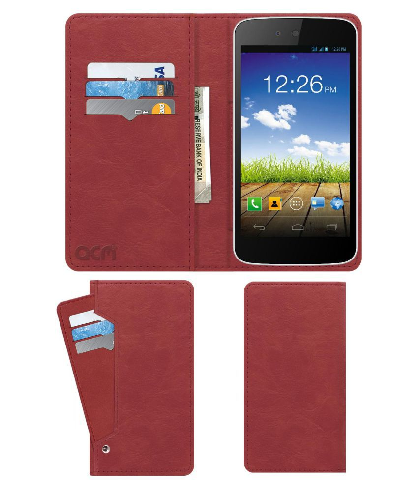 Micromax Canvas A1 Flip Cover by ACM - Pink Wallet Case,Can store 6 Card & Cash,Peach Pink