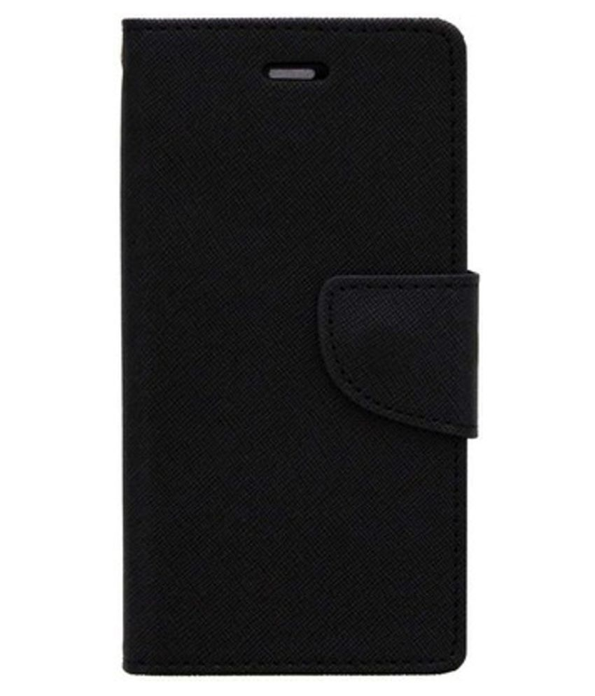 Micromax Canvas Doodle 3 A102 Flip Cover by Kosher Traders - Black Premium Mercury