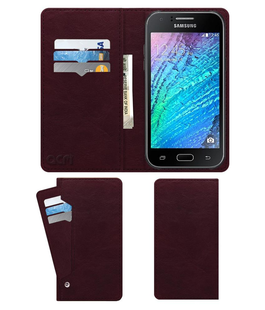 Samsung Galaxy J1 Flip Cover by ACM - Red Wallet Case,Can store 6 Card & Cash,Burgundy Red