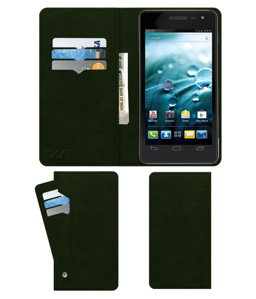Spice Mi-495 Stellar Virtuoso Flip Cover by ACM - Green Wallet Case,Can store 6 Card & Cash,Teal Green