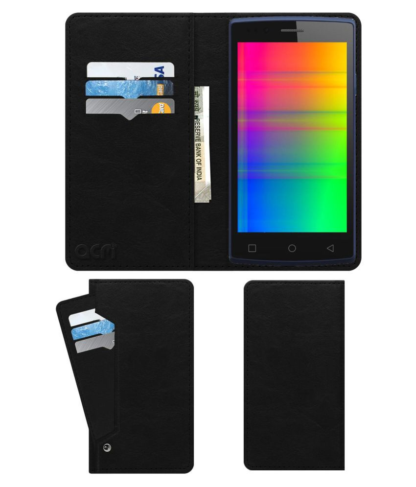 Videocon Infinium Z45 Nova+ Plus Flip Cover by ACM - Black Wallet Case,Can store 6 Card & Cash,Royal Black