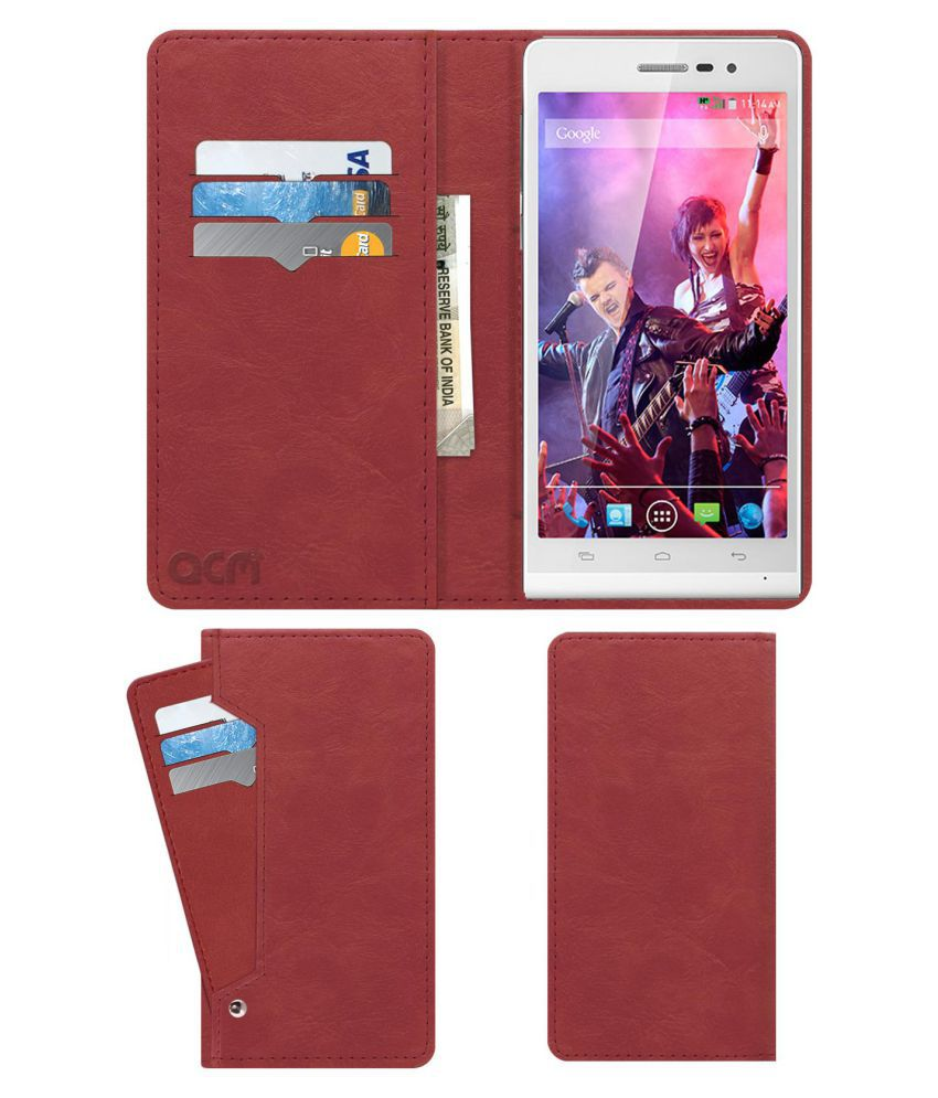 Xolo A1000s Flip Cover by ACM - Pink Wallet Case,Can store 6 Card & Cash,Peach Pink