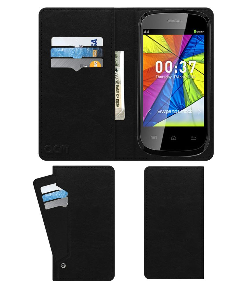 Zen Ultrafone P37i Flip Cover by ACM - Black Wallet Case,Can store 6 Card & Cash,Royal Black