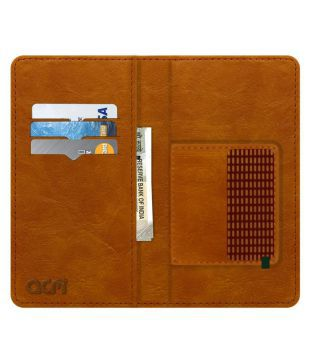 newest collection 24cf0 d05f7 Micromax A25 Flip Cover by ACM - Golden Wallet Case,Can store 6 Card &  Cash,Classic Golden