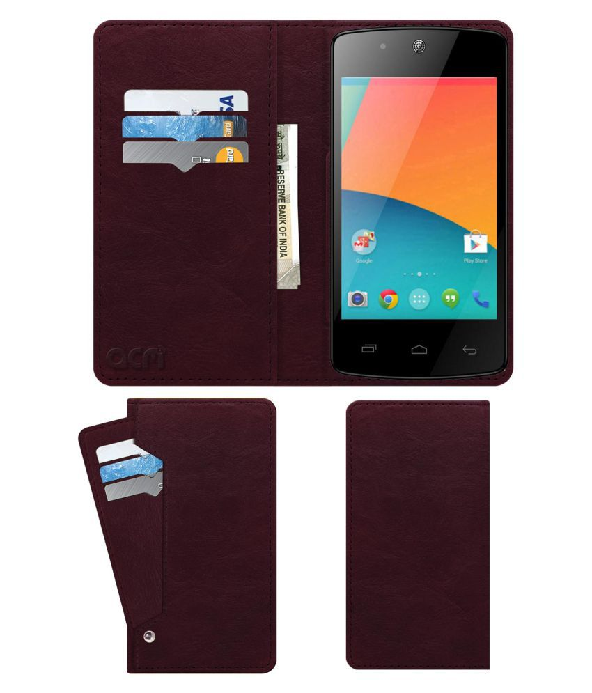 Mtech Bravo 3g Flip Cover by ACM - Red Wallet Case,Can store 6 Card & Cash,Burgundy Red