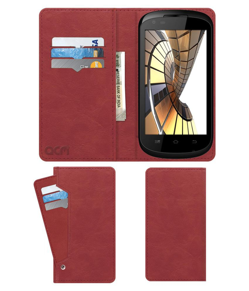 SPICE STELLAR 445 Flip Cover by ACM - Pink Wallet Case,Can store 6 Card & Cash,Peach Pink