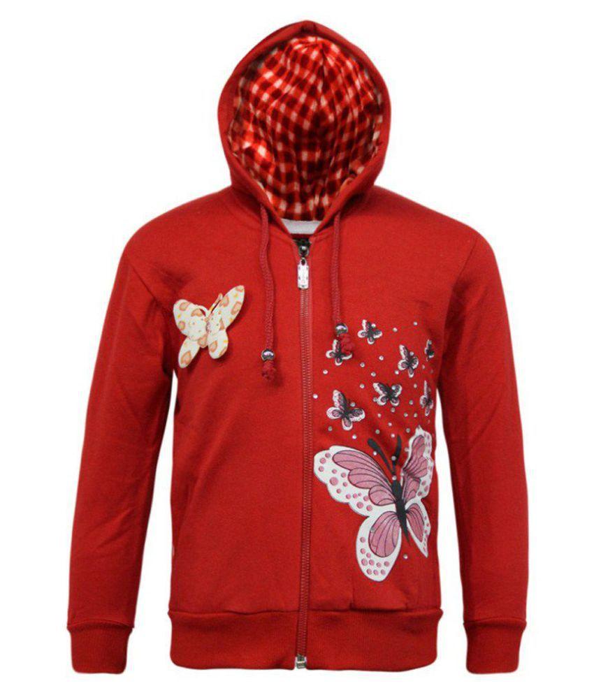 Kothari Red Fleece Sweatshirt With Hood