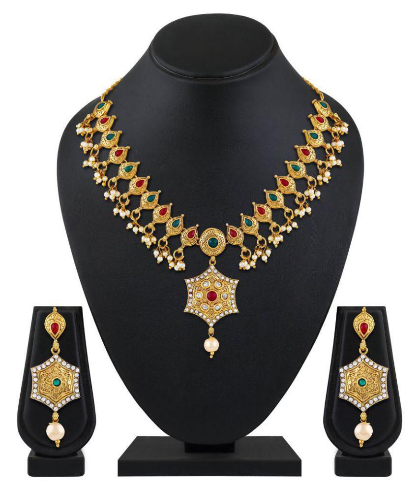 Asmitta Jewellery Zinc Multi Color Choker Traditional Gold ...