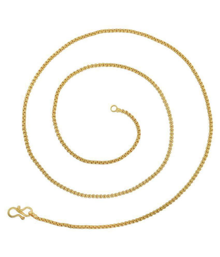692e2e5c6a4 ... Memoir Gold plated, 24 Inch/ 11 gm Round Box Chain design, light weight  ...