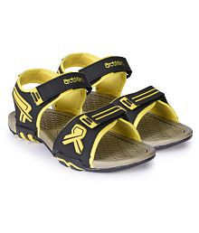 Action Shoes Black Synthetic Floater Sandals
