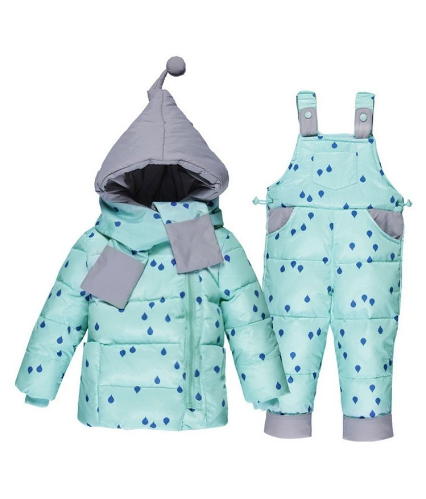 Winter Childrens Clothing Set Kids Ski Suit Overalls Baby Girls Down Coat  Jackets+bib Pants