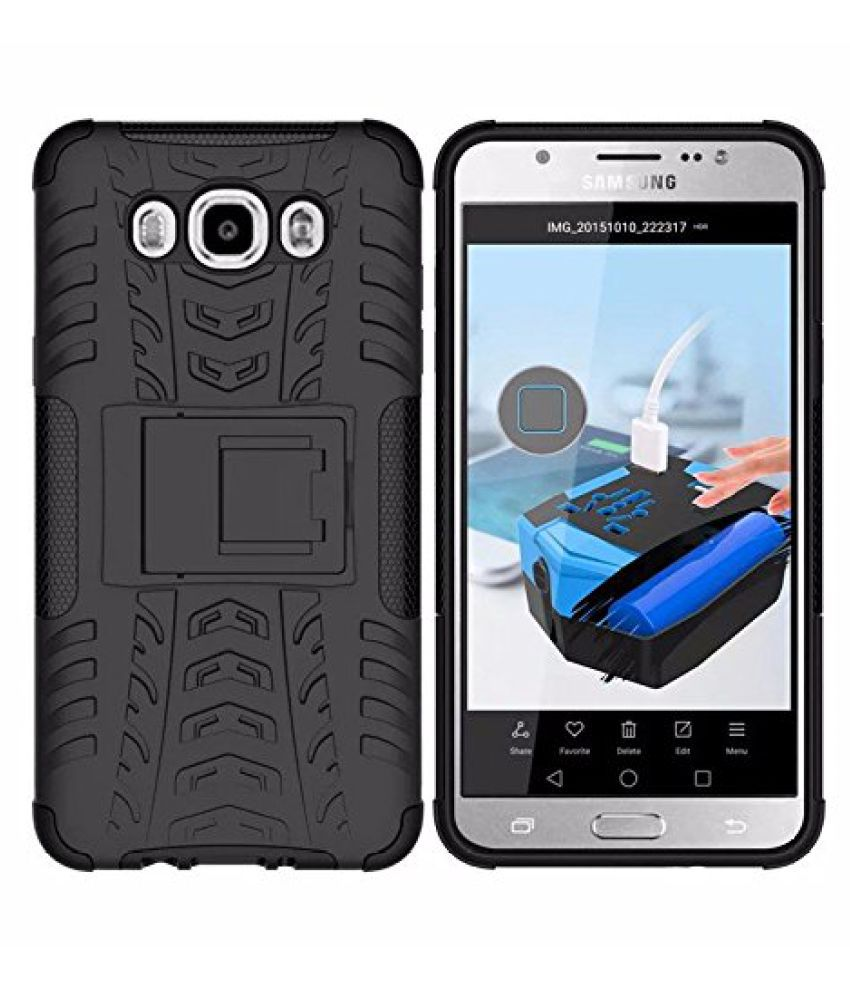 Samsung Galaxy J5 (2016) Cases with Stands MuditMobi - Black diffender back cover