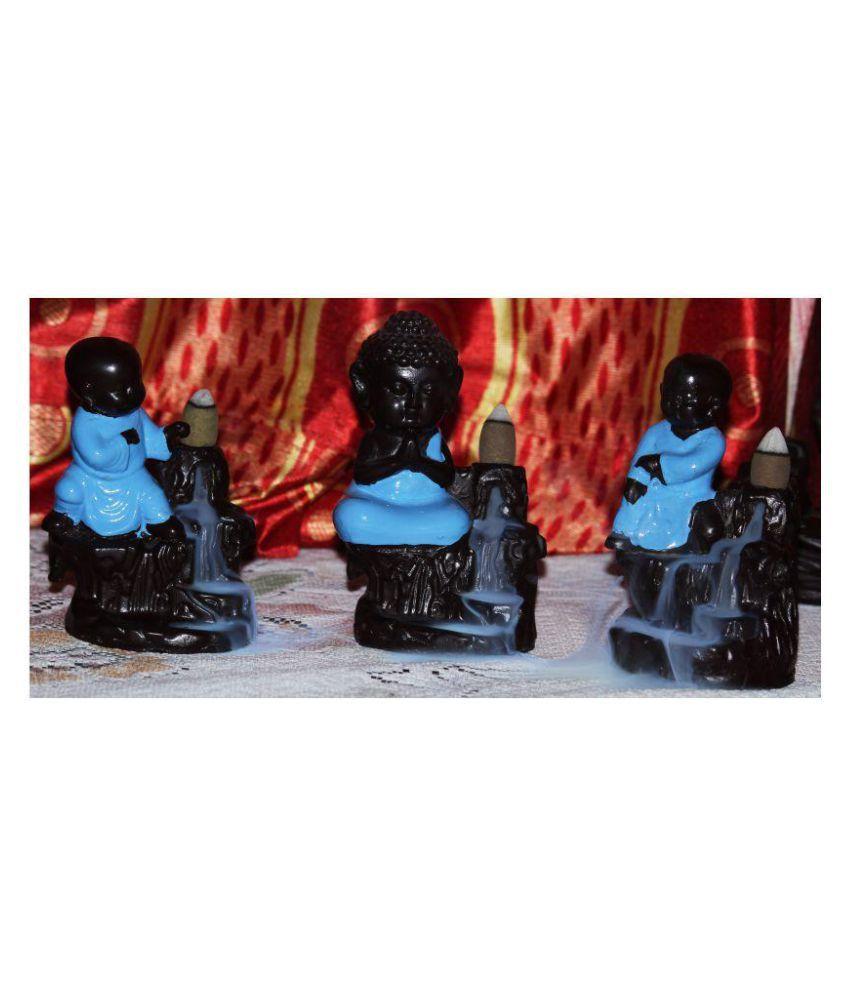 NYKO Handicrafts Blue Polyresin Monk Buddha Smoke Backflow - Pack of 1