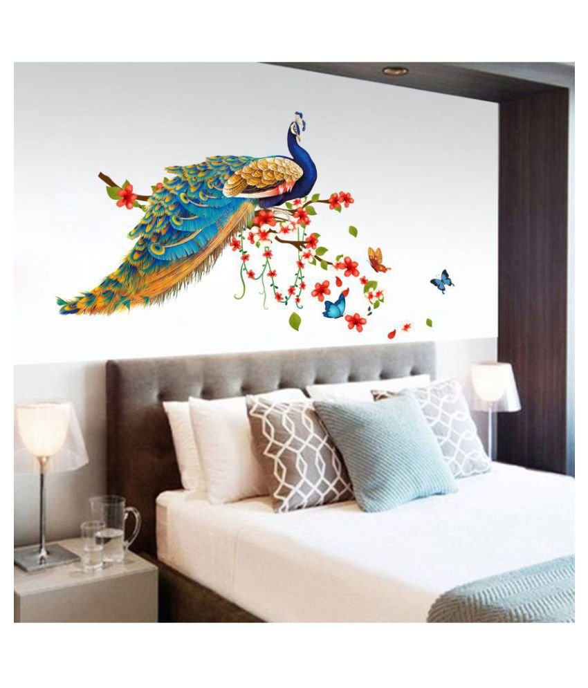 HOMETALES Peacock Bird Sitting on Floral Branch Nature Sticker ( 120 x 90 cms )