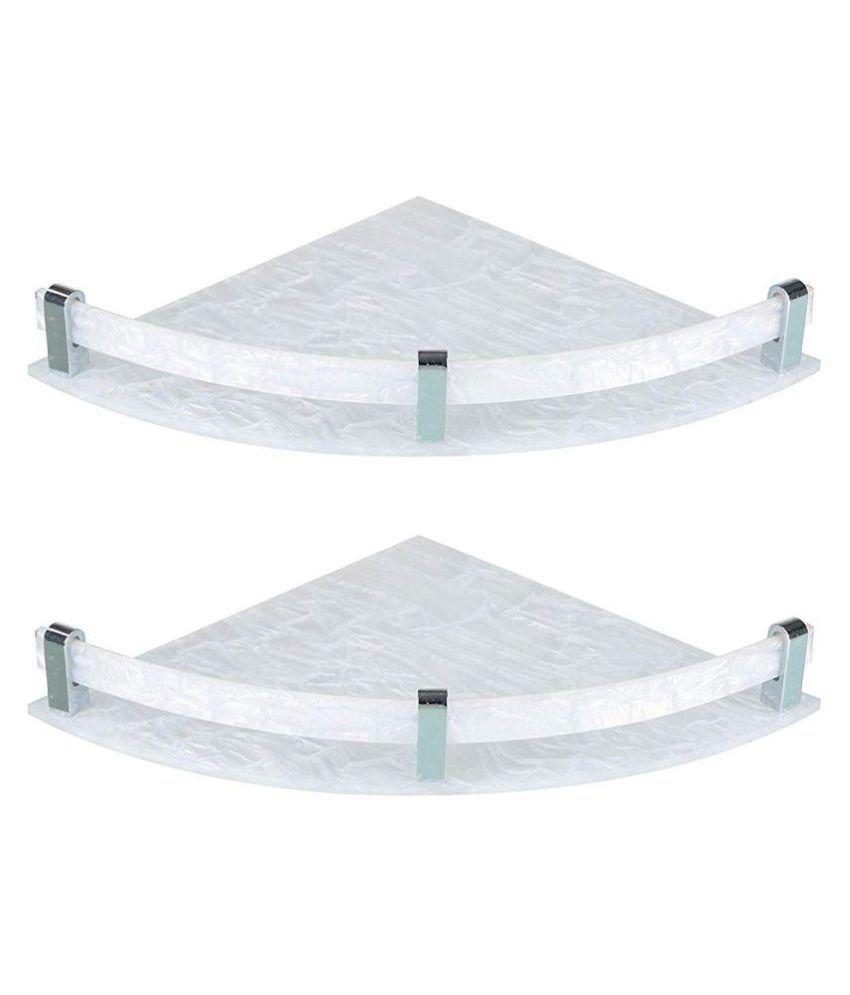 Designer Corner shelf set of 2 white (Size 10