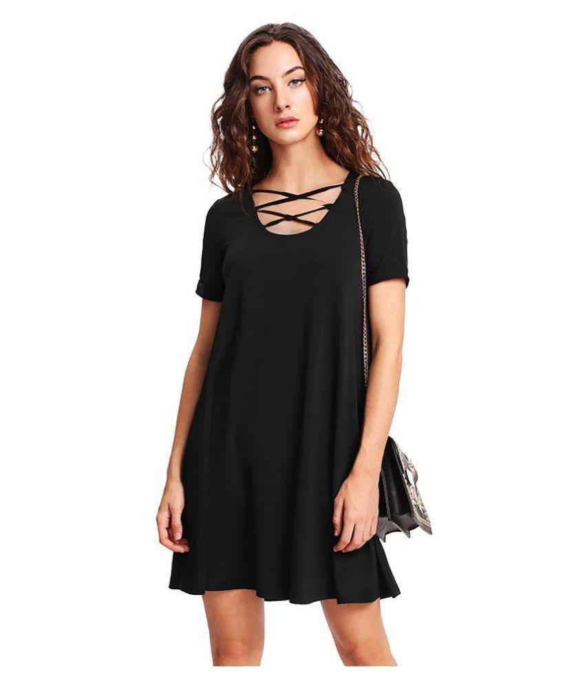 Flying Dreamers Crepe Black Skater Dress