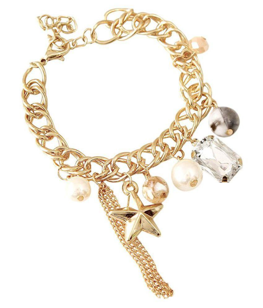 Tokenz Gold Toned Beaded Charm Metal Bracelet for Women and Girls