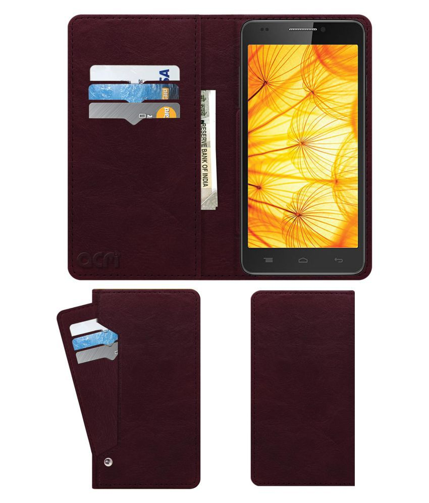 Intex Aqua Xtreme II Flip Cover by ACM - Red Wallet Case,Can store 6 Card & Cash,Burgundy Red