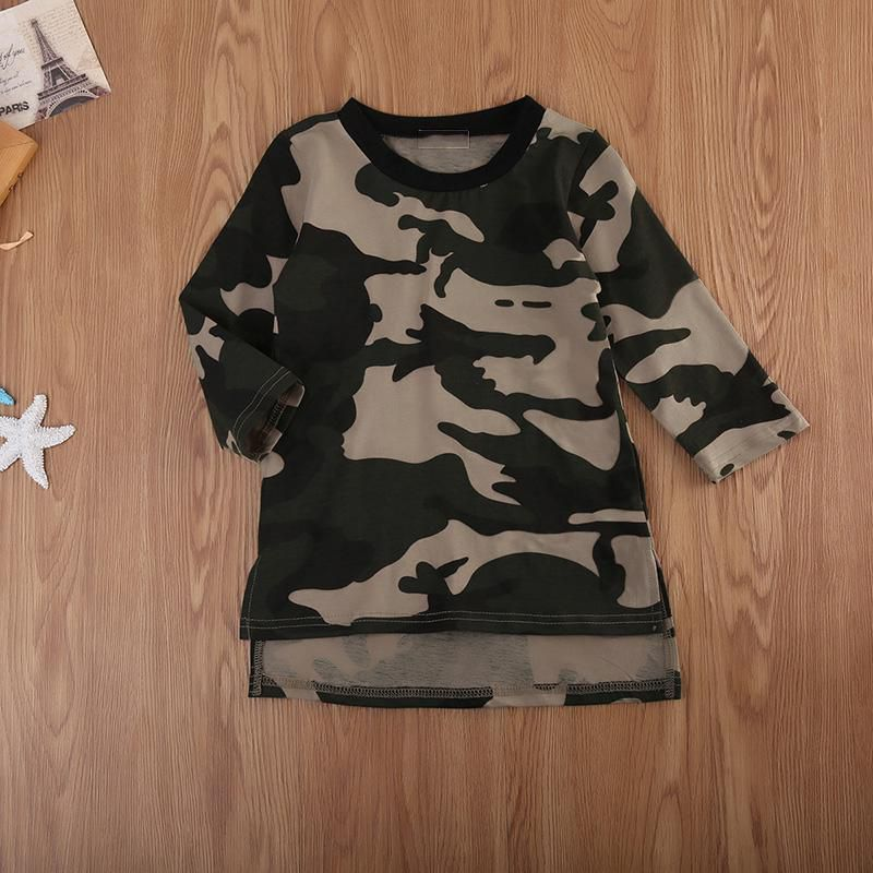 48a079c5bbf ... Cute Camouflage Pattern Straight Girls Dresses Long Sleeve Kid Girls  Clothes ...
