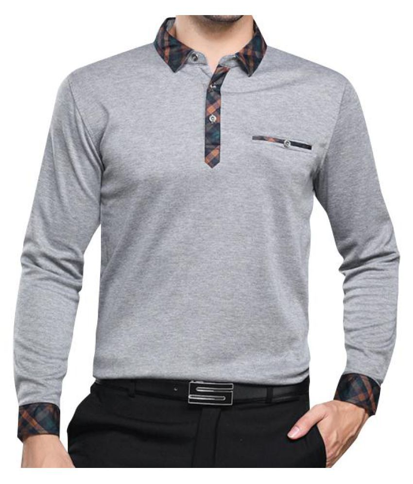 66b33e300 ... Solid Turn-down Collar Long Sleeve Golf Shirt for Middle-aged Men ...