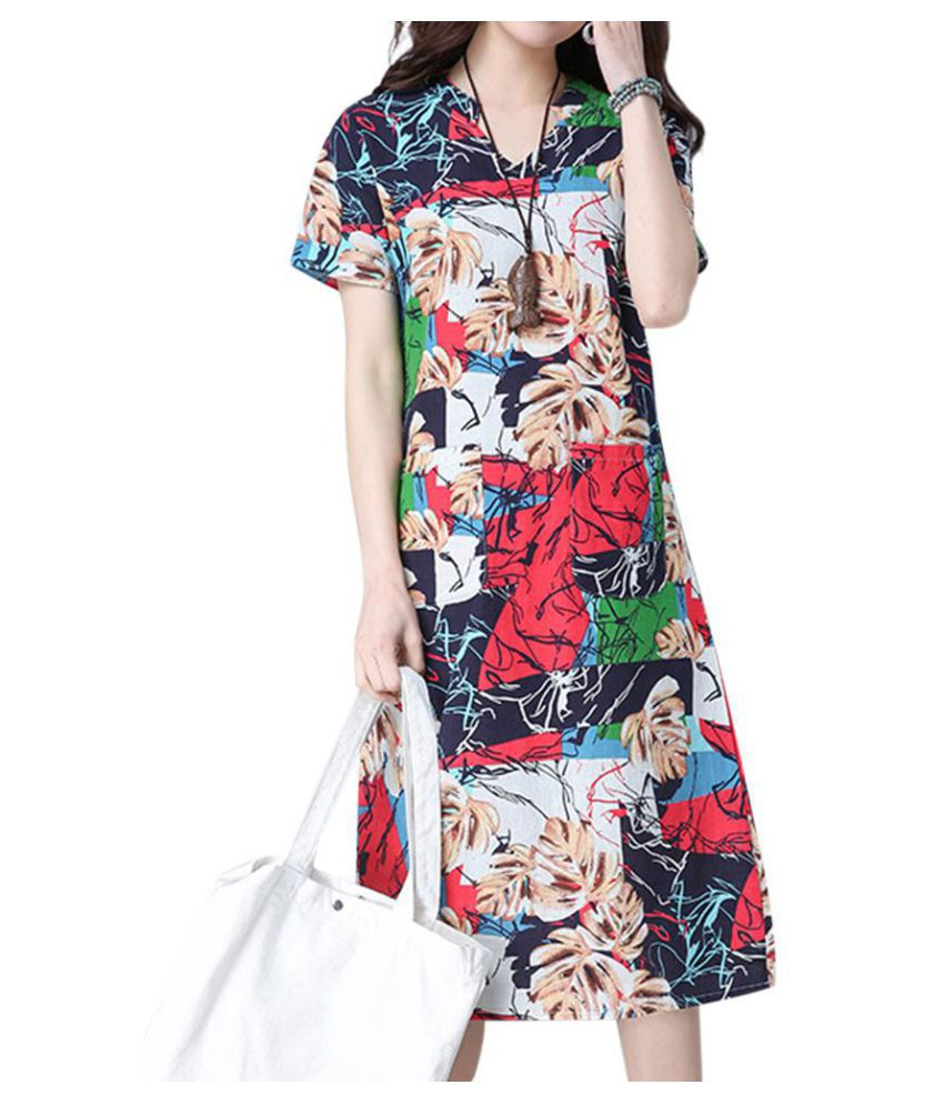 31c8d497d307 Casual Loose V-neck Short Sleeves Printed Dresses - Buy Casual Loose ...