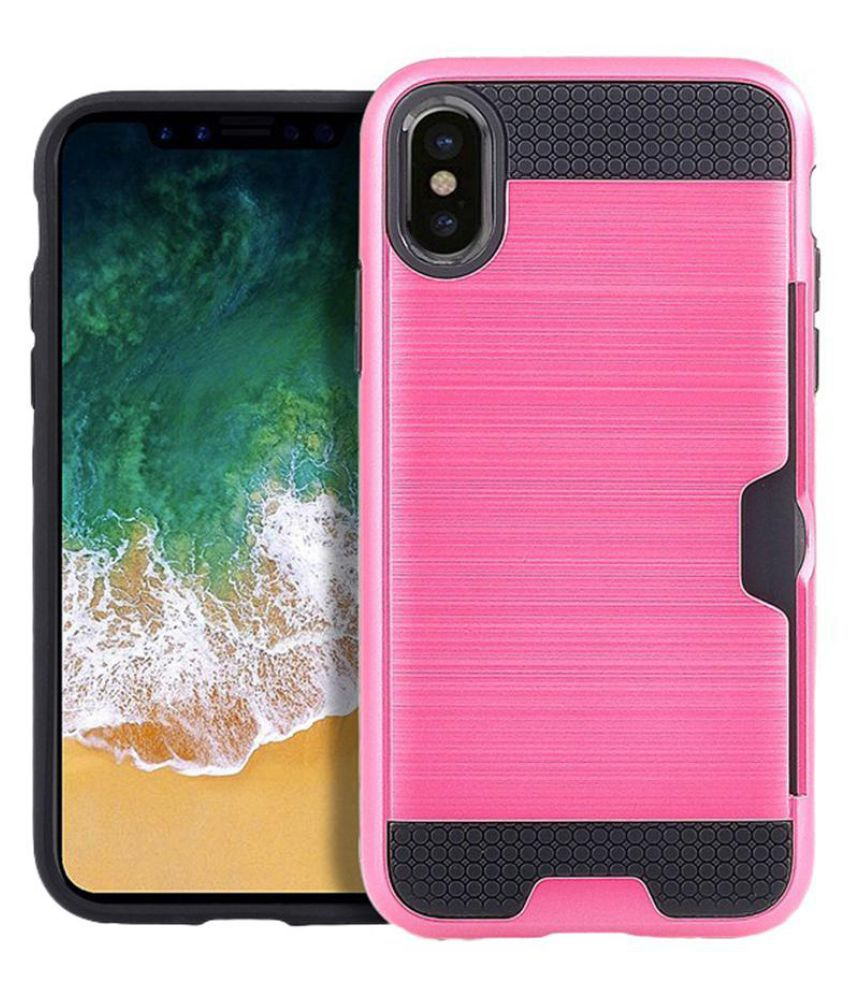 separation shoes a038d f1b48 Brushed Card Slot Shockproof Back Case Cover for iPhone X Samsung ...