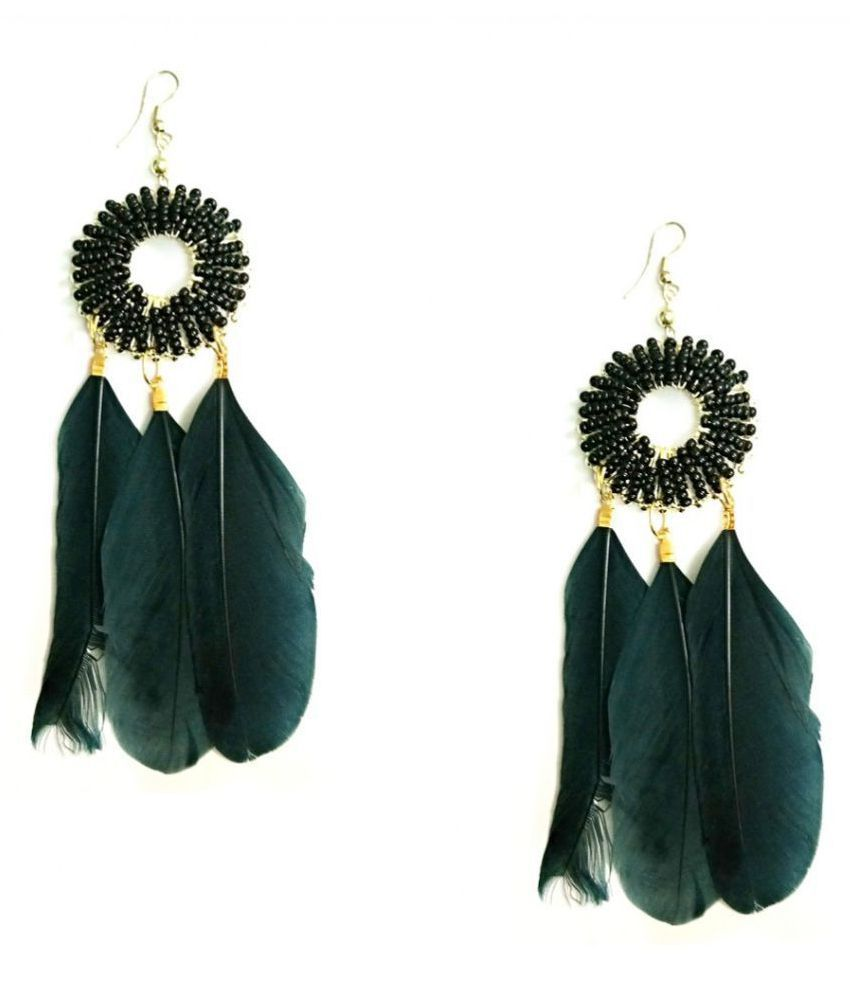 Turqueesa Beaded Round Style Long Feather Tassel Dangler - Black