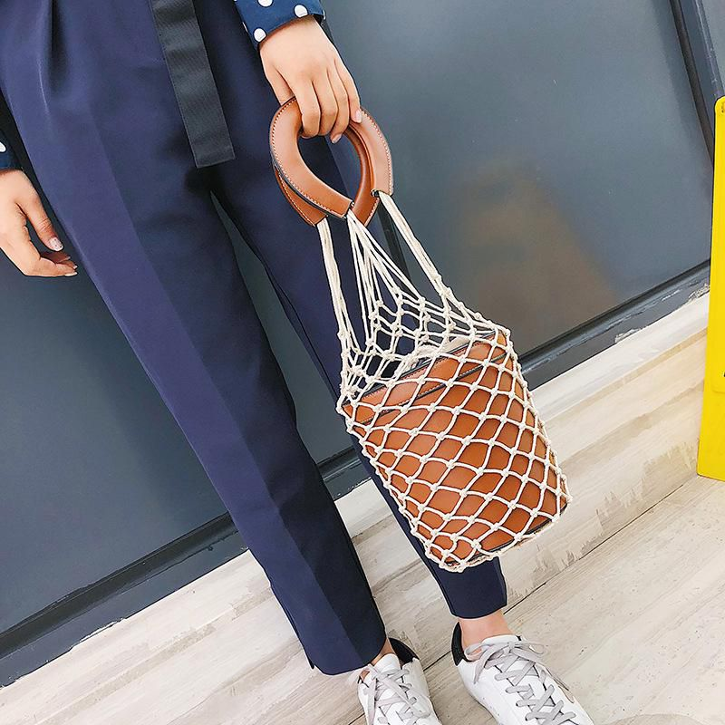 Women Net Bag Bucket Handbags Fashion Hollow Out Leather Tote Summer Travel Beach Bag Female Hand Bags
