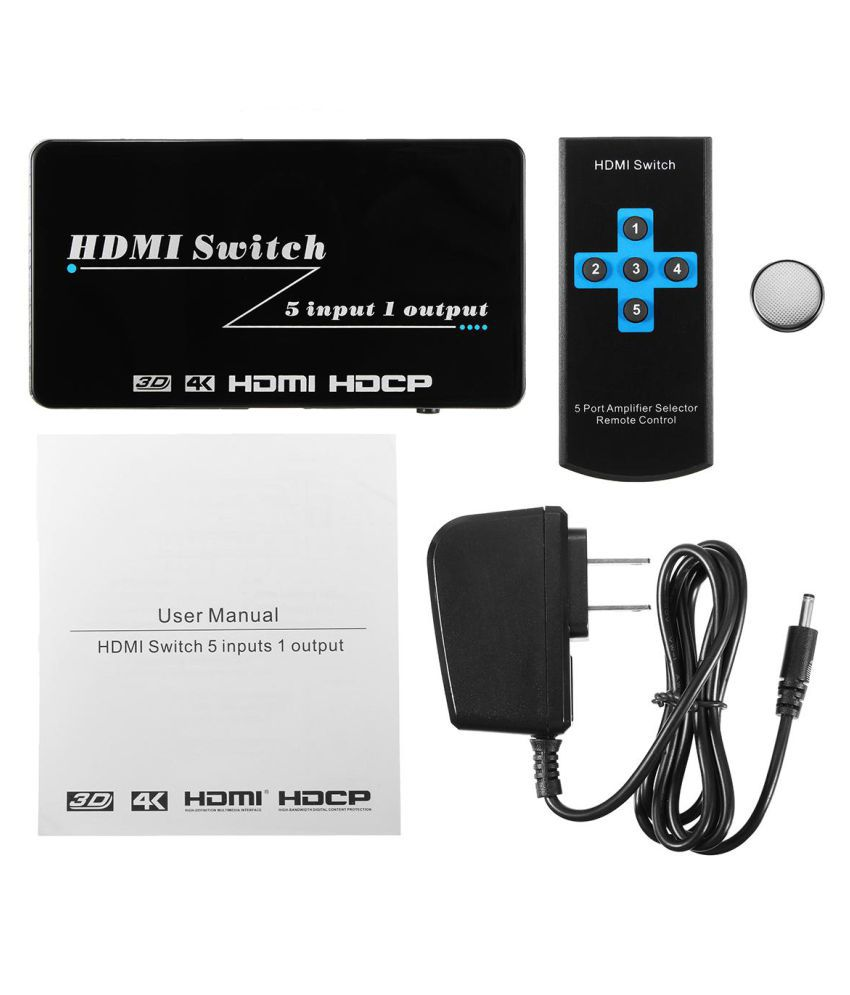 Powered 5-Port HDMI Switch 5x1 Switcher Selector Splitter 1080P 4K*2K 3D Remote