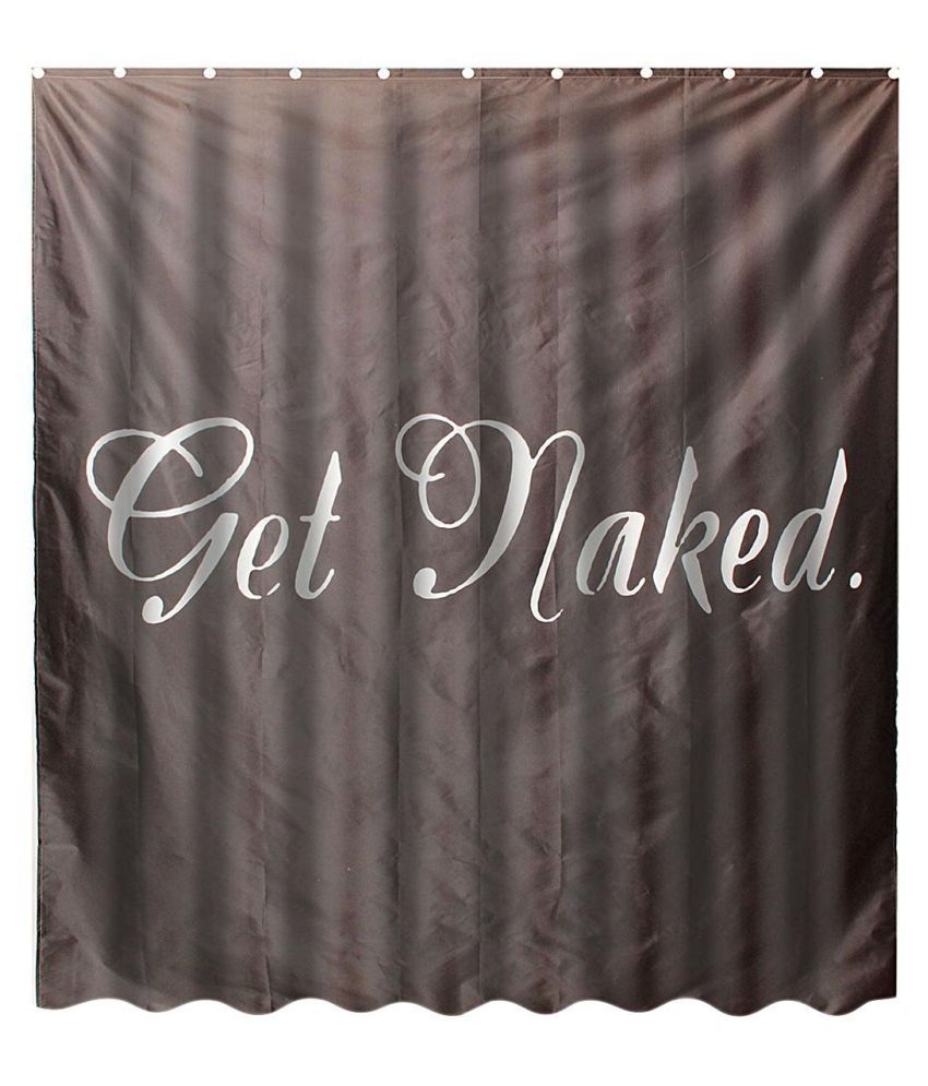 Waterproof Fabric Shower Curtain Bathroom Curtain with Hooks Quotes:Get Naked